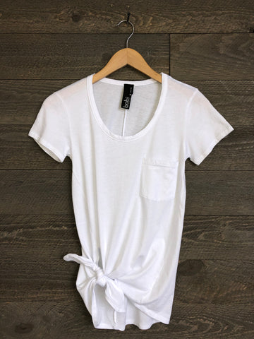 Bobi Sequoia Side-Tie Tee In White