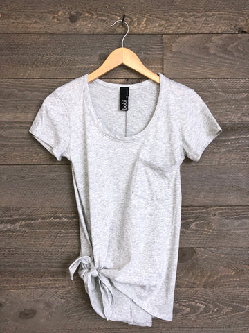 Bobi Sequoia Side-Tie Tee In Grey