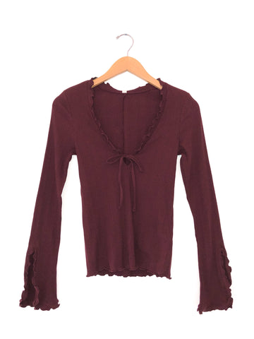 Free People 'Fall For You' Long Sleeve Top In Plum