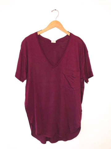 Free People 'Ronnie' V-Neck In Wine