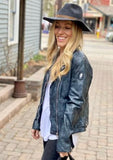 Victoria Leather Biker Jacket, Blue