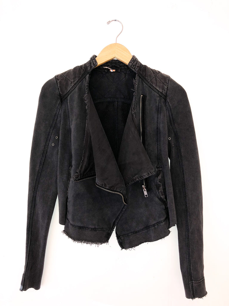 "Free People 'Shrunken Moto"" Cardigan In Black"