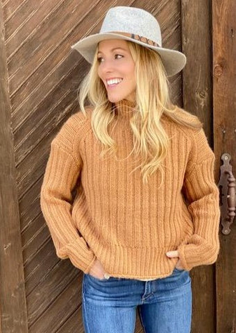 Leona Ribbed Turtleneck, Camel