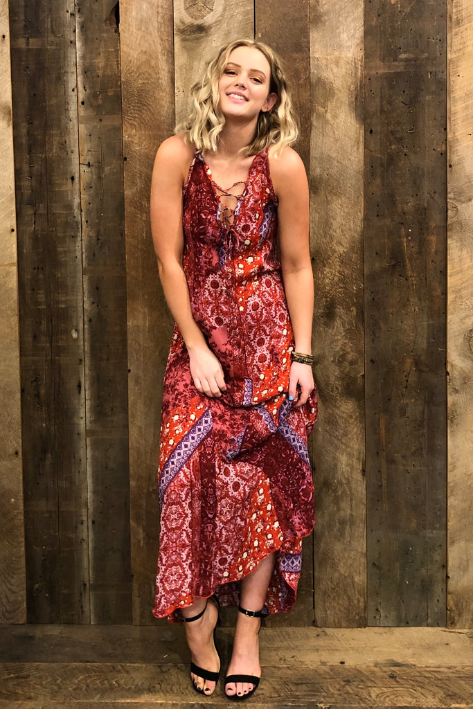 Free People Work Of Art Maxi Dress In Raspberry