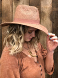 Dusty Rose Straw Fedora