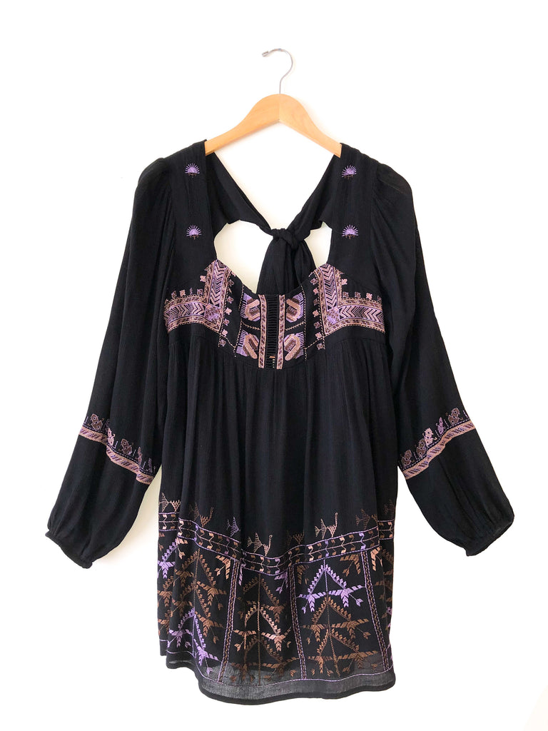 "Free People ""Rhiannon"" Mini Dress In Black"