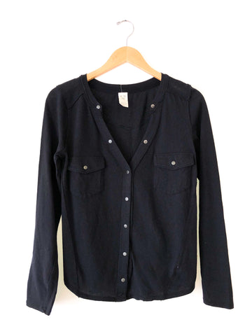 "Free People ""Starlight"" Henley In Black"