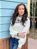 Kallie Balloon Sleeve Knit Sweater, Winter White