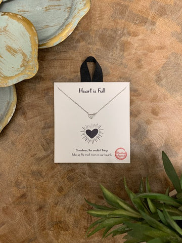 'Heart Is Full' Necklace, Silver