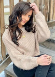 Elin Boat Neck Sweater, Taupe
