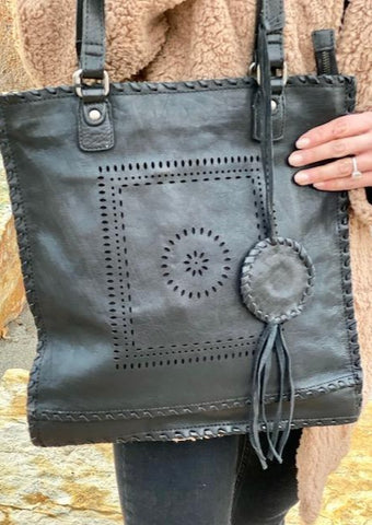 Soleil Leather Handbag, Black