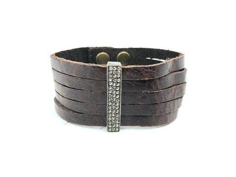 Rebel Designs Shredded Leather Bracelet With Black Diamonds