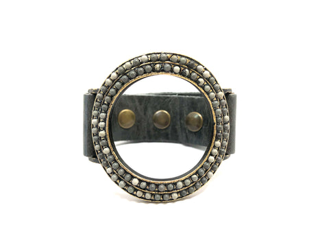 Rebel Designs Open Round Bracelet In Gray