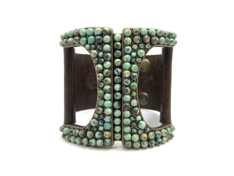 Rebel Designs Rectangle Bracelet With African Turquoise