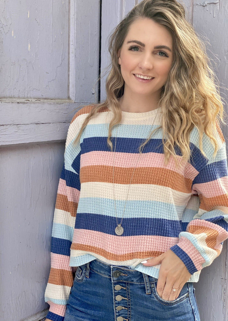Mercer Stripe Thermal Top, Washed Navy