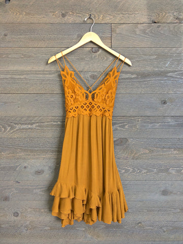 Free People 'Adella' Slip Dress In Mustard