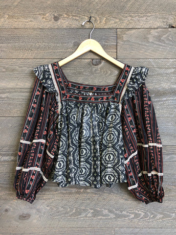 Free People 'Mostly Meadows' Blouse In Black