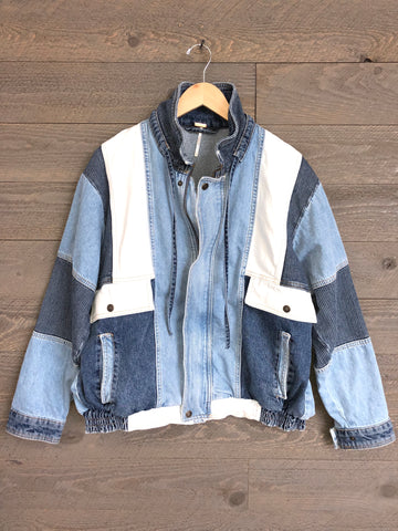 Free People Denim Bomber Jacket In Indigo