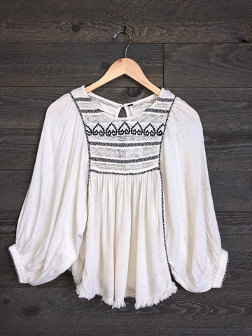 Free People 'Cyprus Avenue' Blouse In Ivory Combo
