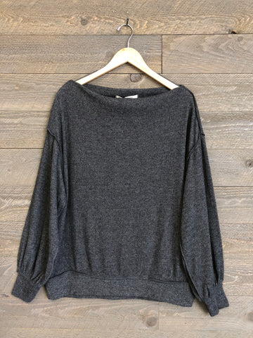 "Free People 'Main Squeeze"" Hacci Top In Grey"