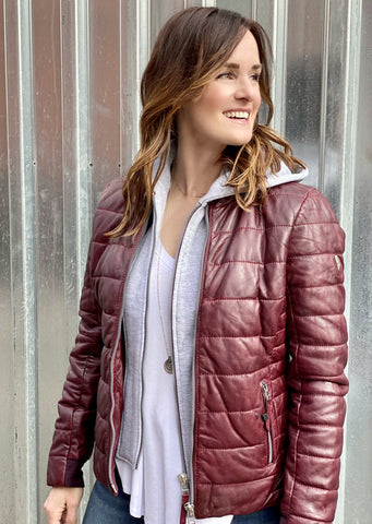 Robin Quilted Leather Jacket, Ox Red
