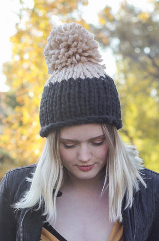 Cozy Up Color Block Pom Beanie In Black & Camel