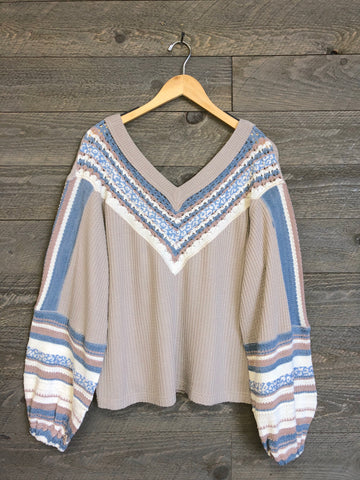 Free People 'Copenhagen' Sweater In Pebble Combo