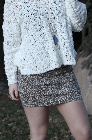 Free People 'Modern Femme Novelty' Denim skirt with leopard print