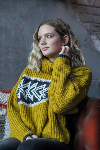 Free People Greater Than Sweater with colorblocking and a graphic print