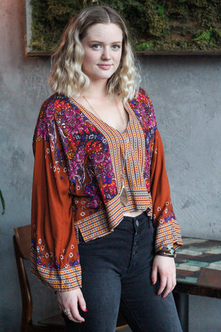 "Free People ""Mix 'n Match"" Top In Burnt Orange"