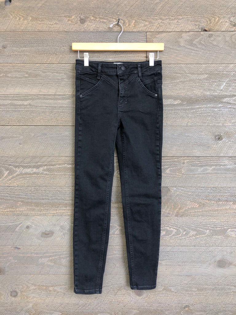 Free People 'Riley' Seamed Skinny Jeans In Black