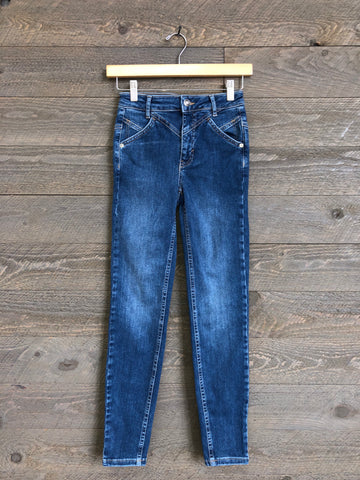 Free People 'Riley' Seamed Skinny Jeans In Blue
