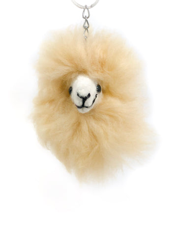 Happy Alpaca Keychain In Light Brown
