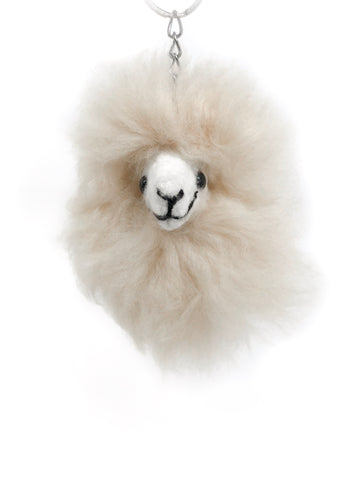 Happy Alpaca Keychain In White