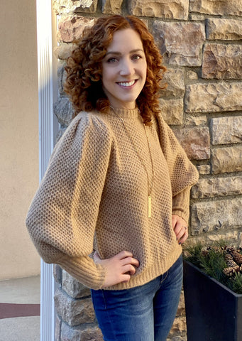 Marna Balloon Sleeve Sweater, Latte