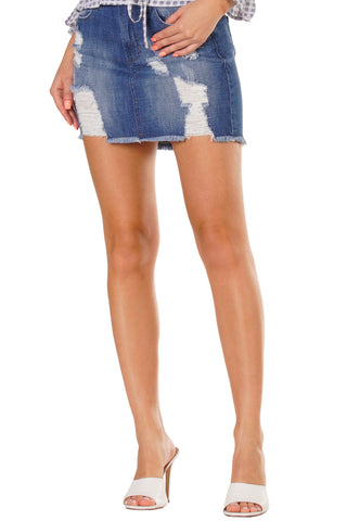 Jeni Distressed Denim Skirt