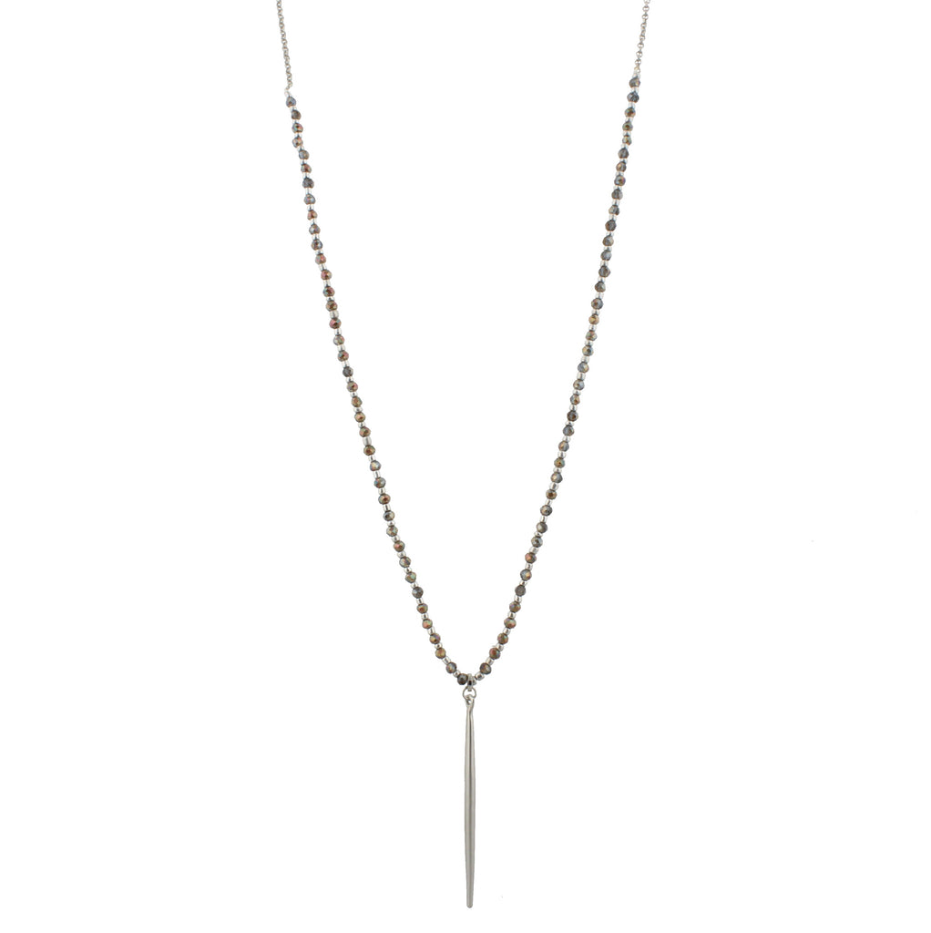 Jane Marie Athena's Spear Necklace With Black Beads