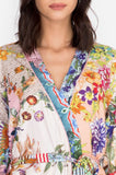 Johnny Was Dreamer Sleep Robe - Multicolor Floral Pattern - Close Up View