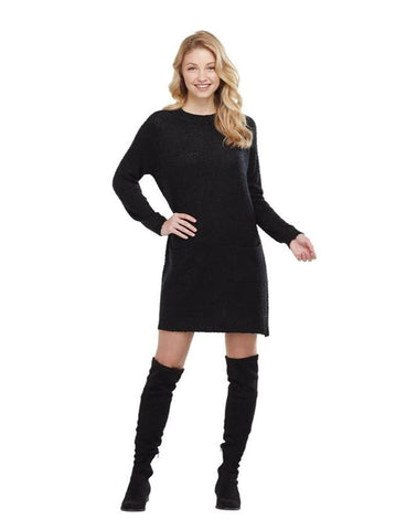Jordy Boucle Sweater Dress in Black