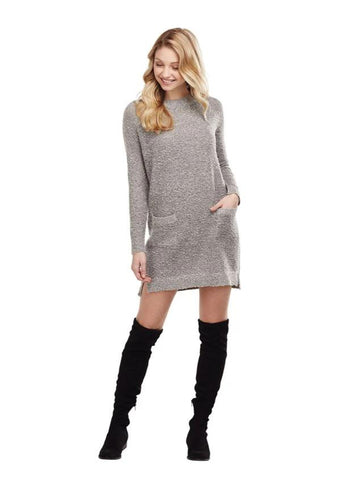 Jordy Boucle Sweater Dress in Gray