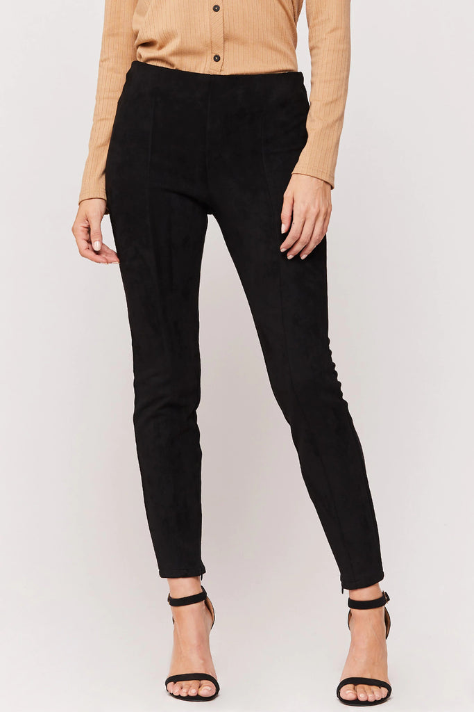 Kaleesie Faux Suede Leggings in Black