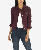 Kara Crop Denim Jacket, Deep Wine