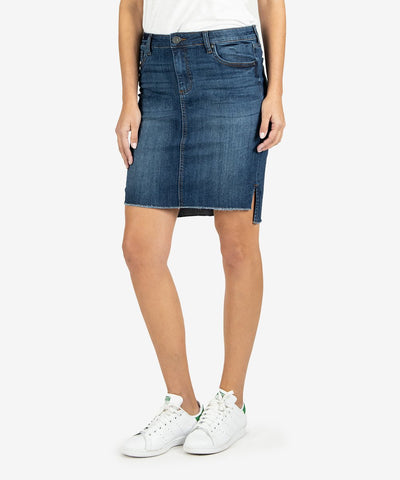 Connie Step Hem Denim Skirt, Affectionate Wash