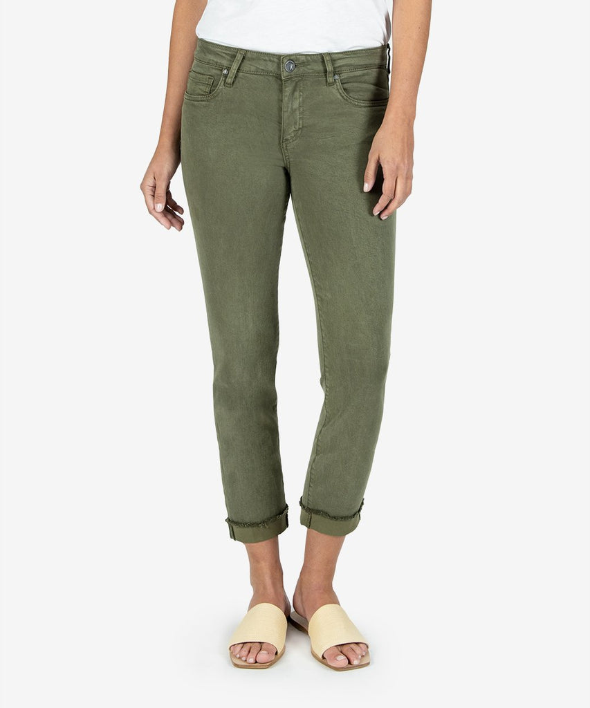 Amy Crop Straight Leg Jeans, Olive