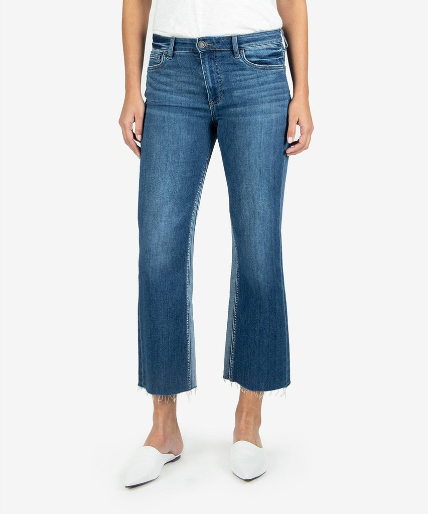 Kelsey High Rise Ankle Flare in Overtake Wash