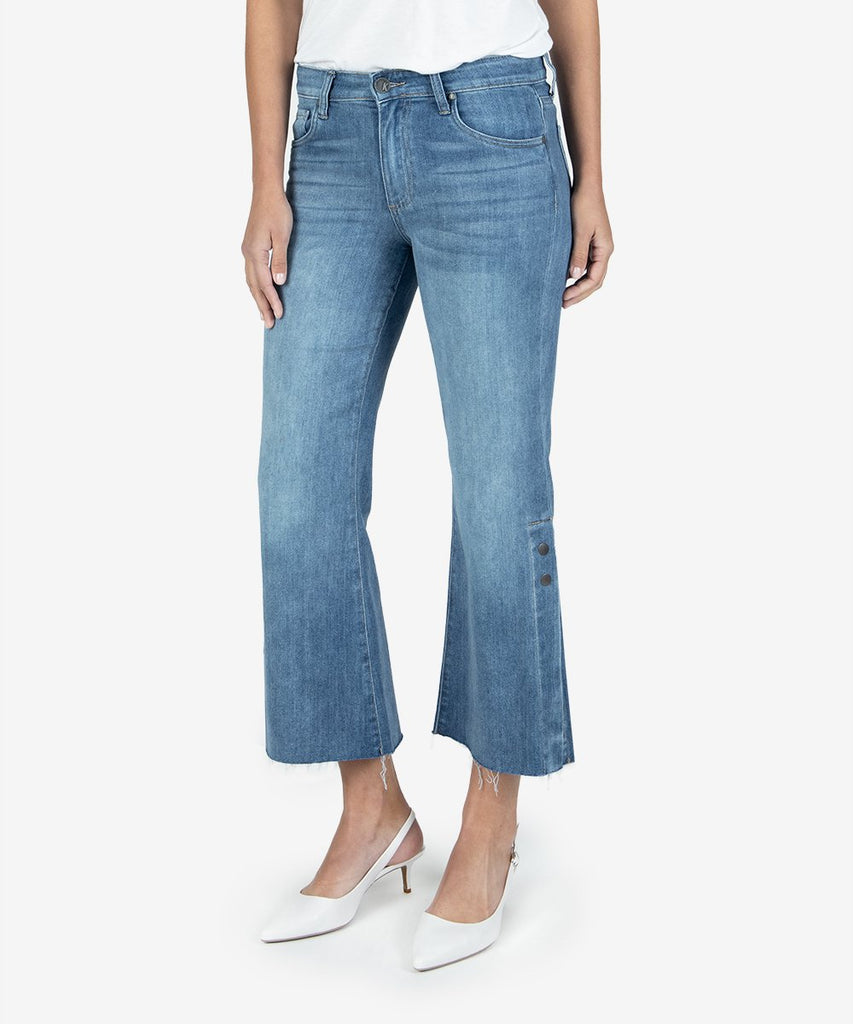 Kelsey High Rise Ankle Flare Jeans, Flower Wash