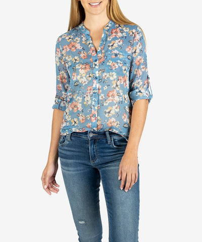 Jasmine Printed Top in Ferrara Blue Heaven