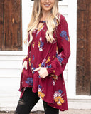 Grace & Lace 'Long Sleeve Keyhole Pocket Tunic' In Wine Floral