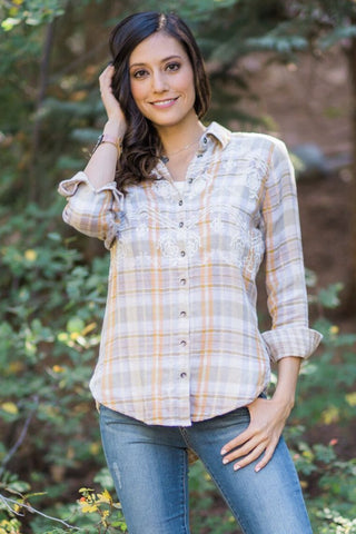 Free People 'Magical Plaid' Embroidered Buttondown