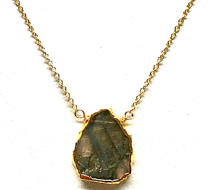 Adel Labradorite Raw Cut Necklace On Gold Chain